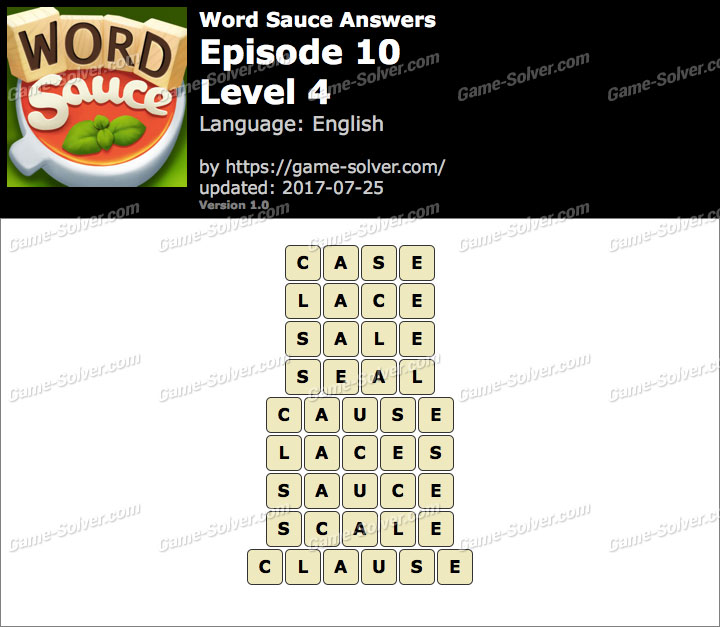 Word Sauce Episode 10-Level 4 Answers
