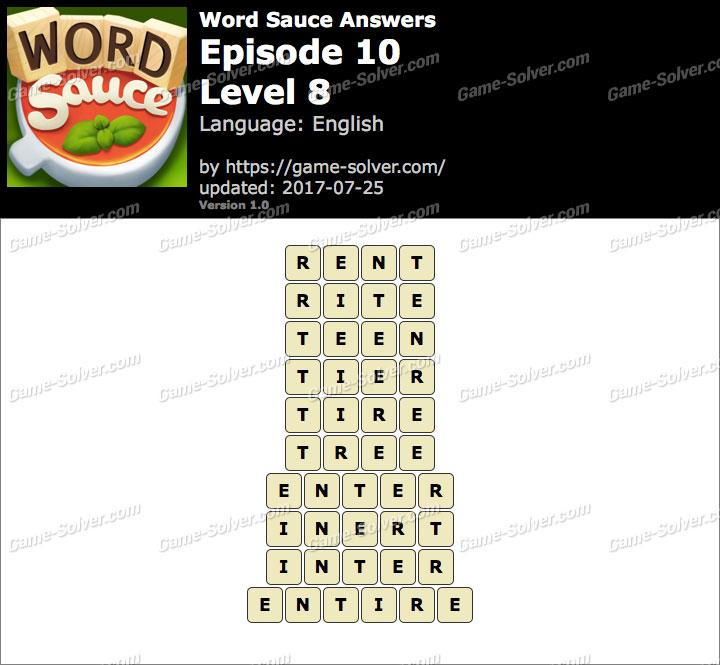 Word Sauce Episode 10-Level 8 Answers