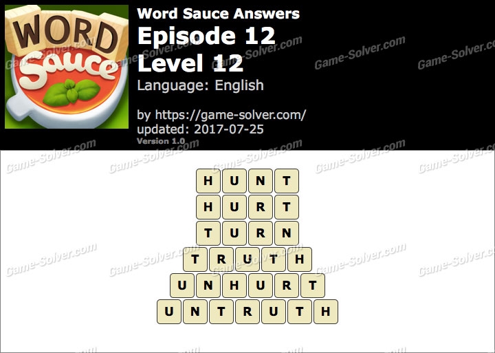 Word Sauce Episode 12-Level 12 Answers