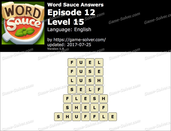 Word Sauce Episode 12-Level 15 Answers