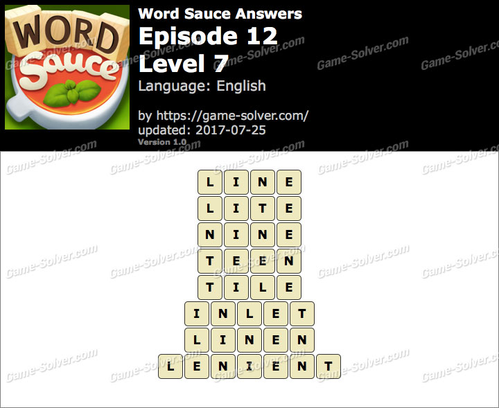 Word Sauce Episode 12-Level 7 Answers