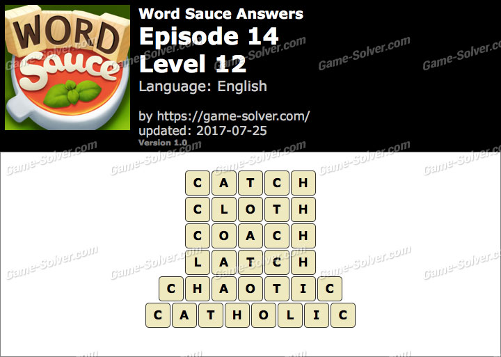 Word Sauce Episode 14-Level 12 Answers