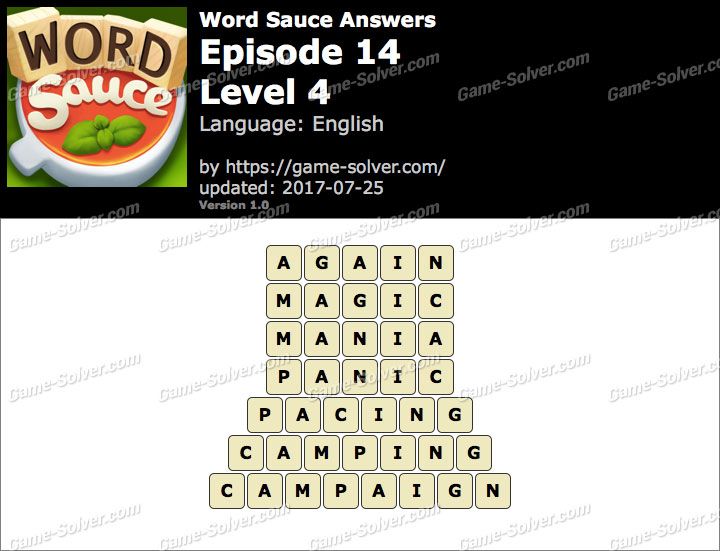 Word Sauce Episode 14-Level 4 Answers