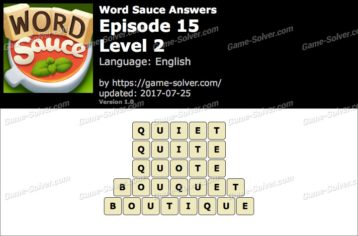 Word Sauce Episode 15-Level 2 Answers