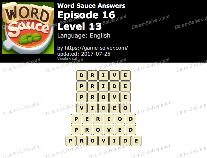 Word Sauce Episode 16-Level 13 Answers