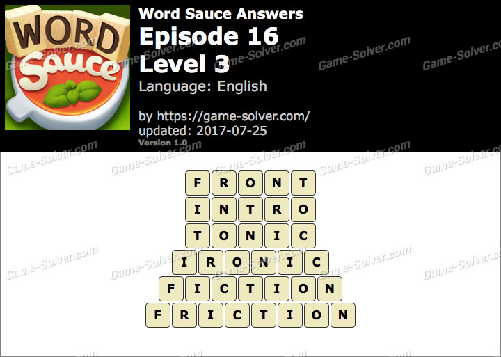 Word Sauce Episode 16-Level 3 Answers