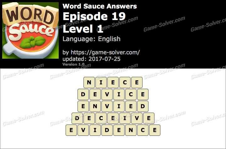 Word Sauce Episode 19-Level 1 Answers