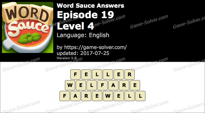 Word Sauce Episode 19-Level 4 Answers
