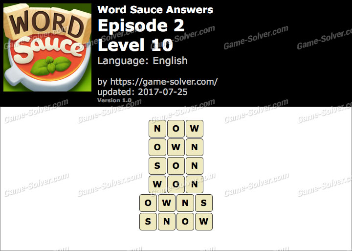 Word Sauce Episode 2-Level 10 Answers