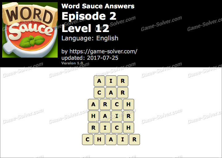 Word Sauce Episode 2-Level 12 Answers
