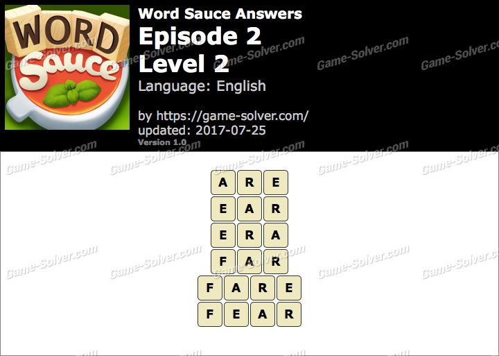 Word Sauce Episode 2-Level 2 Answers