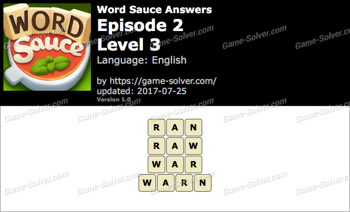 Word Sauce Episode 2-Level 3 Answers