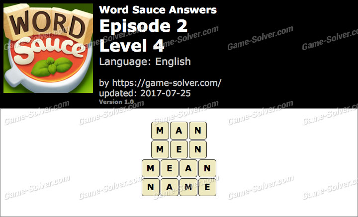 Word Sauce Episode 2-Level 4 Answers