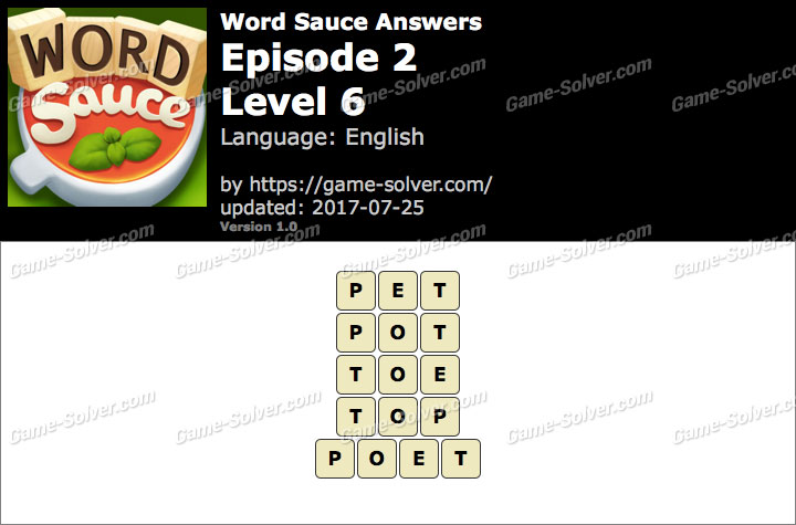 Word Sauce Episode 2-Level 6 Answers