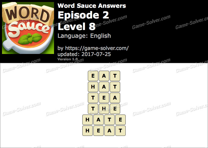 Word Sauce Episode 2-Level 8 Answers