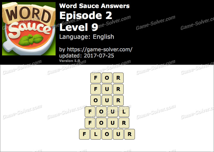 Word Sauce Episode 2-Level 9 Answers