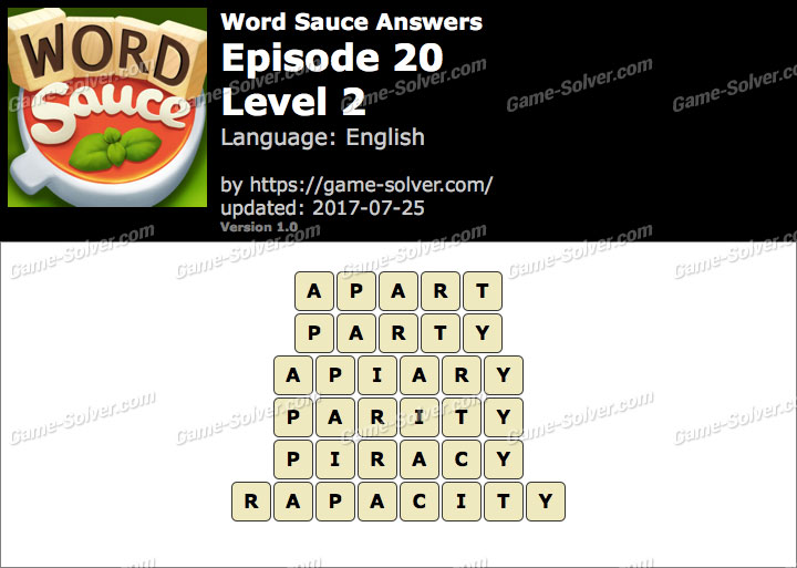 Word Sauce Episode 20-Level 2 Answers