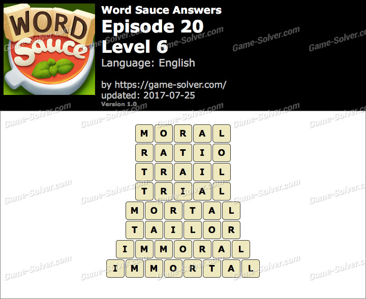 Word Sauce Episode 20-Level 6 Answers
