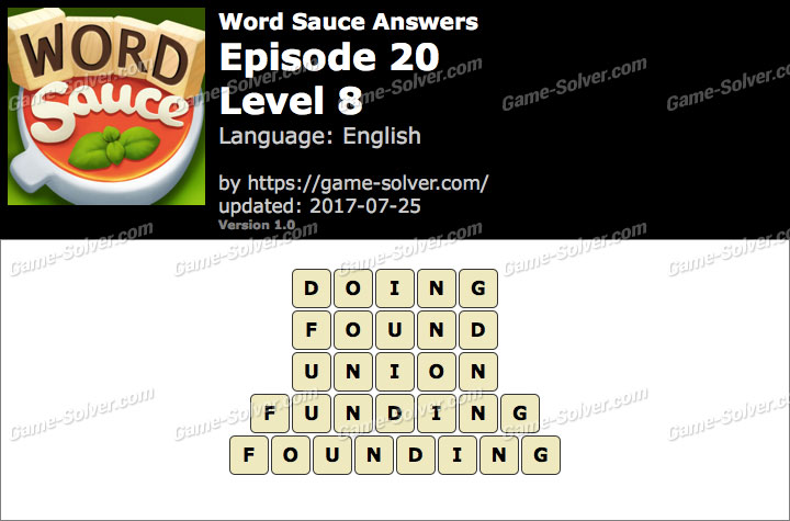 Word Sauce Episode 20-Level 8 Answers