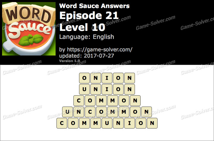 Word Sauce Episode 21-Level 10 Answers