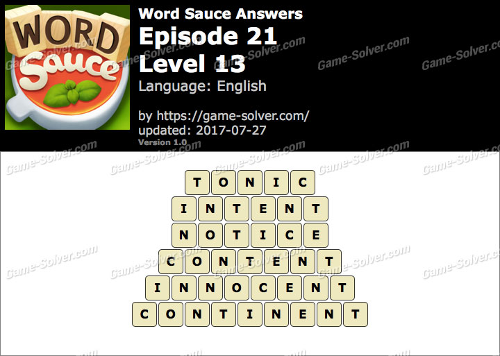 Word Sauce Episode 21-Level 13 Answers