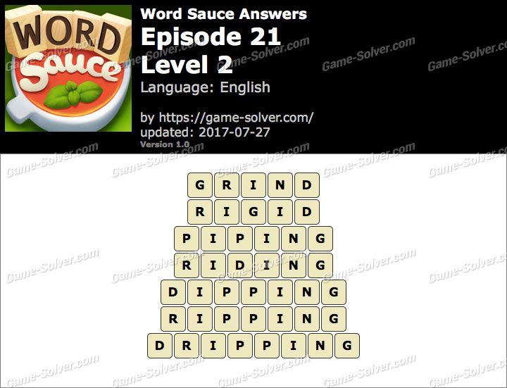 Word Sauce Episode 21-Level 2 Answers
