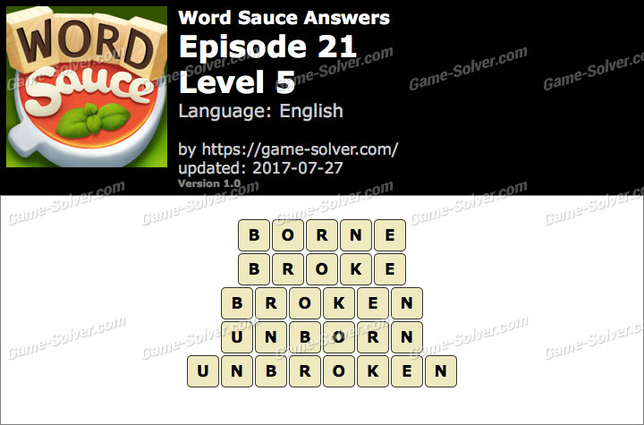 Word Sauce Episode 21-Level 5 Answers