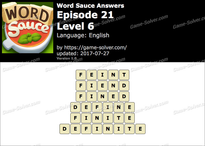 Word Sauce Episode 21-Level 6 Answers