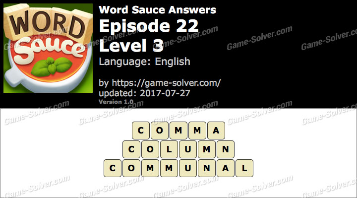 Word Sauce Episode 22-Level 3 Answers