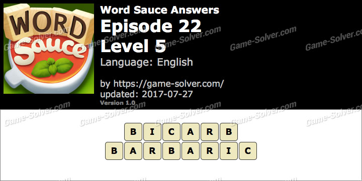 Word Sauce Episode 22-Level 5 Answers