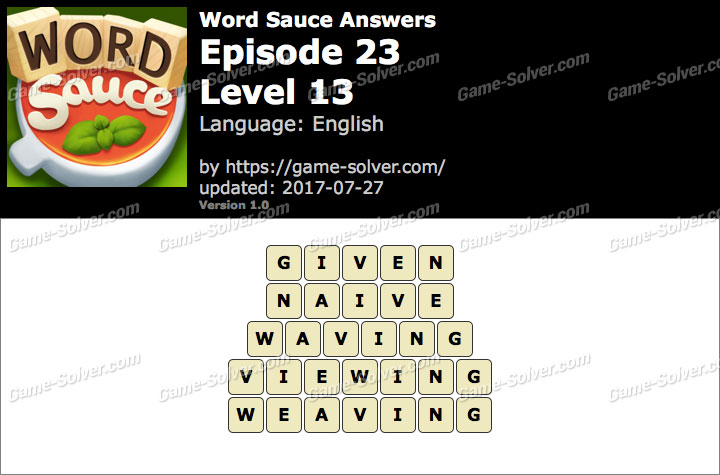 Word Sauce Episode 23-Level 13 Answers
