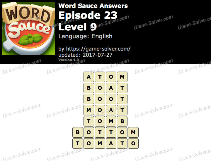 Word Sauce Episode 23-Level 9 Answers