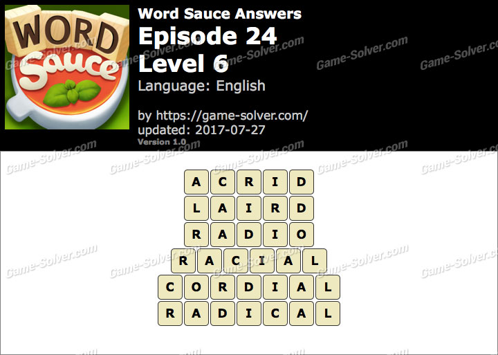 Word Sauce Episode 24-Level 6 Answers