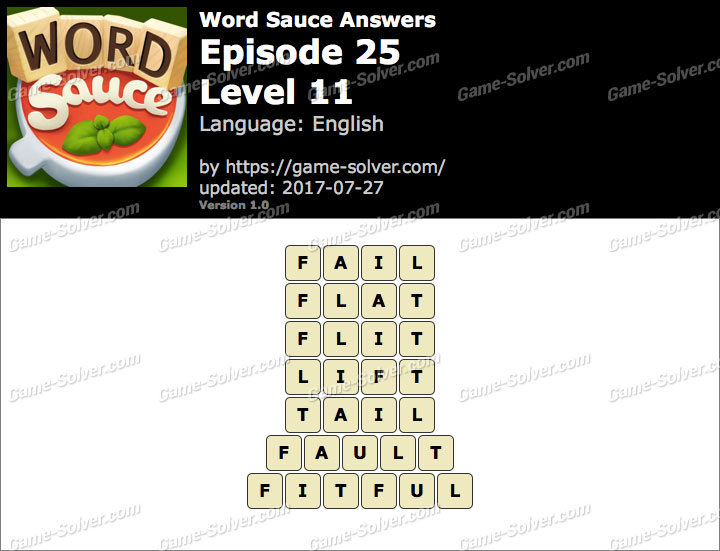 Word Sauce Episode 25-Level 11 Answers