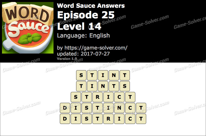 Word Sauce Episode 25-Level 14 Answers