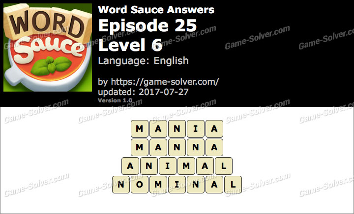 Word Sauce Episode 25-Level 6 Answers