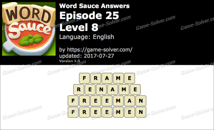 Word Sauce Episode 25-Level 8 Answers