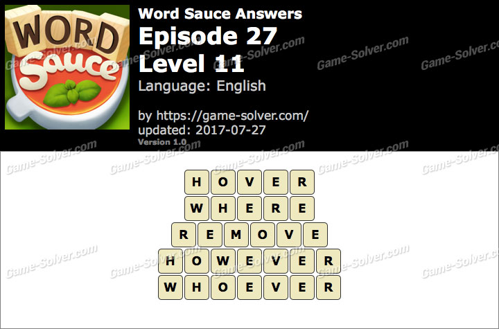 Word Sauce Episode 27-Level 11 Answers