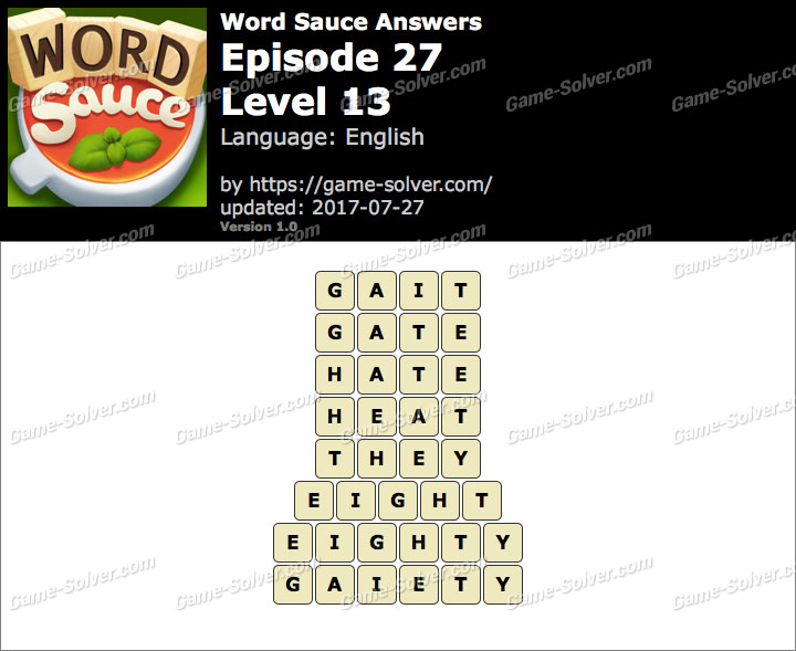 Word Sauce Episode 27-Level 13 Answers