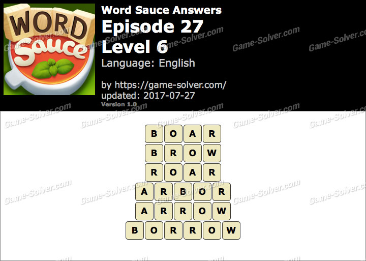 Word Sauce Episode 27-Level 6 Answers