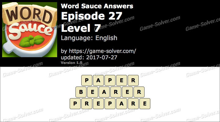 Word Sauce Episode 27-Level 7 Answers