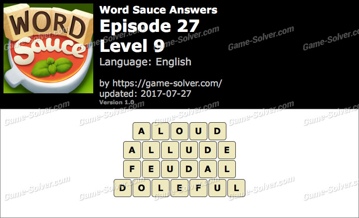 Word Sauce Episode 27-Level 9 Answers