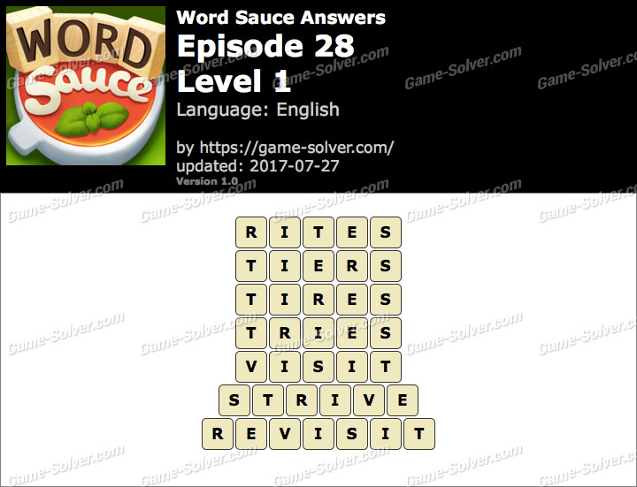 Word Sauce Episode 28-Level 1 Answers