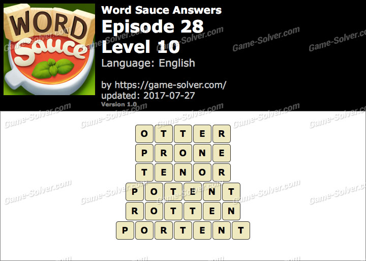 Word Sauce Episode 28-Level 10 Answers