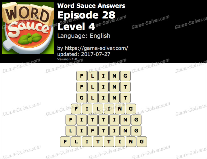 Word Sauce Episode 28-Level 4 Answers