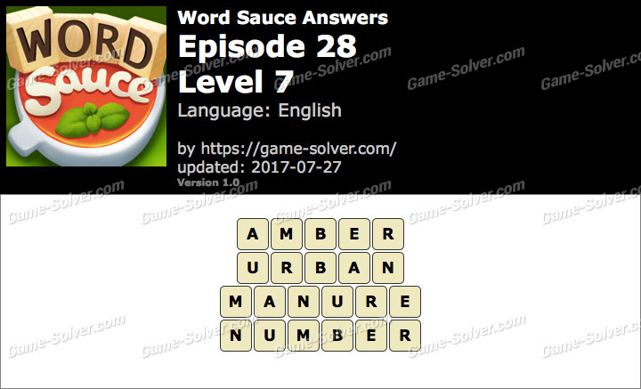 Word Sauce Episode 28-Level 7 Answers