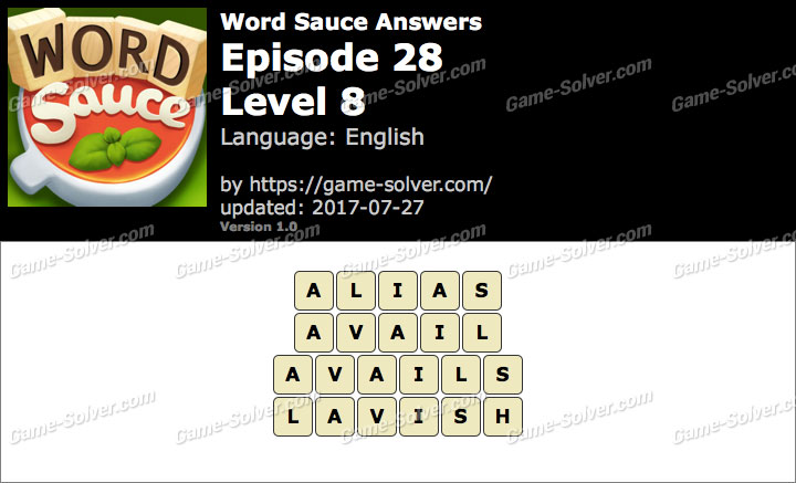 Word Sauce Episode 28-Level 8 Answers