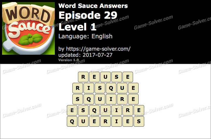 Word Sauce Episode 29-Level 1 Answers