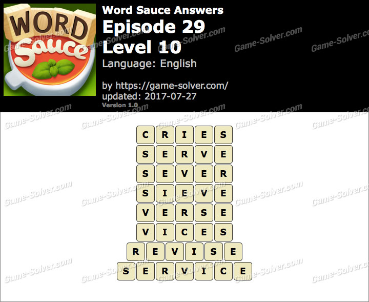 Word Sauce Episode 29-Level 10 Answers