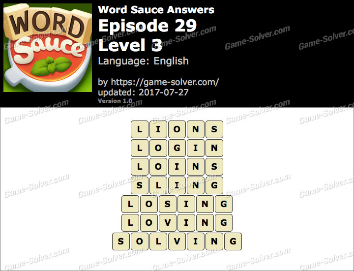 Word Sauce Episode 29-Level 3 Answers